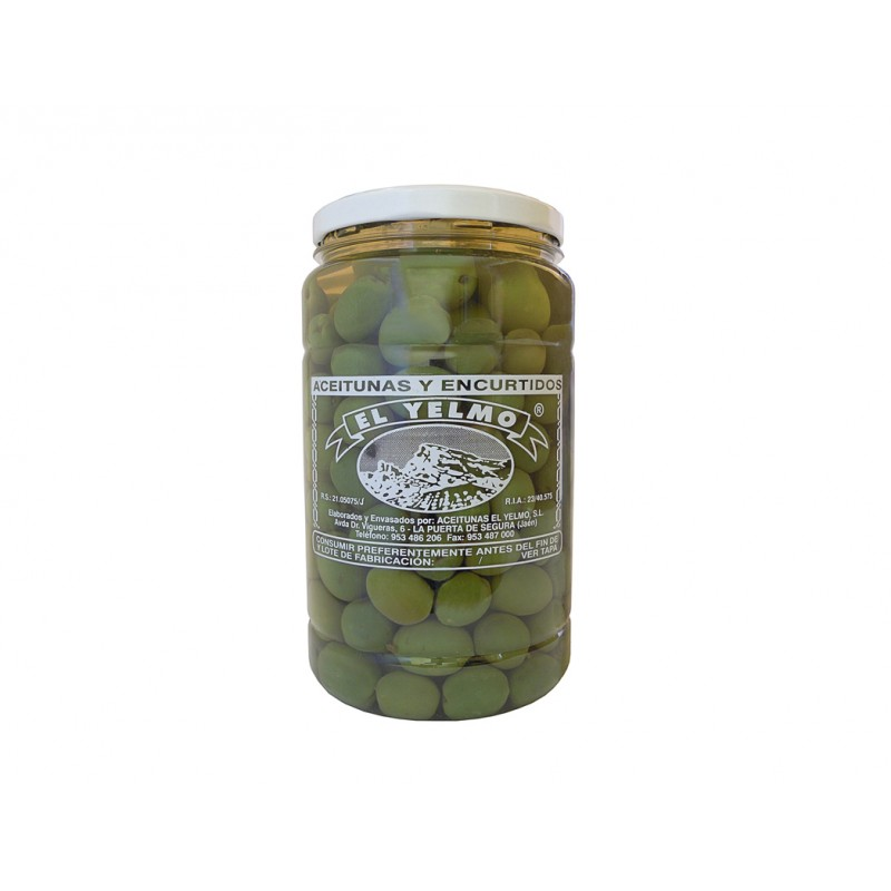 Aceitunas El Yelmo, verde aliñada